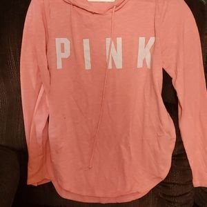 Long sleeve pink hooded shirt